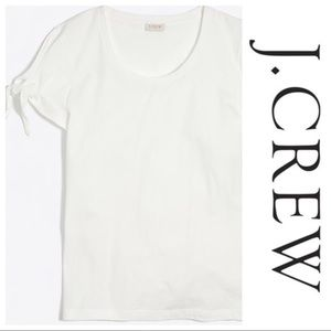 J. Crew white Tie-Shoulder T-shirt